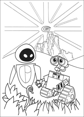 Wall E And Eva Saved The Planet coloring page