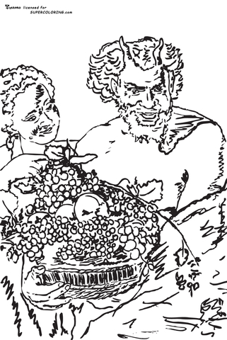 Fruit in the basket coloring pages