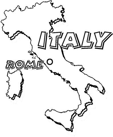 Map of Italy. Rome is the capital of Italy Coloring page