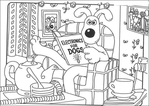 Gromit Reads About Electronics coloring page