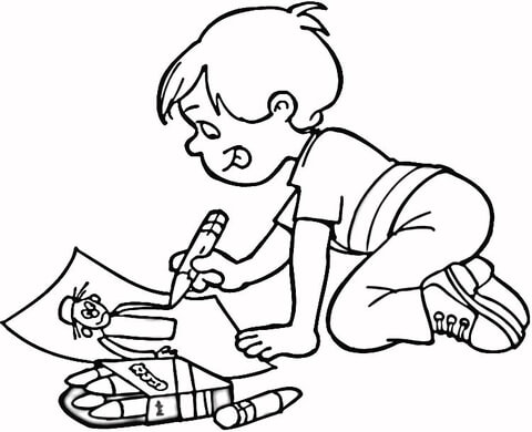 Little Boy Drawing a Masterpiece coloring page