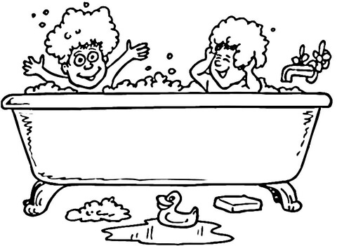 Bath And Rubber Ducks Coloring Page