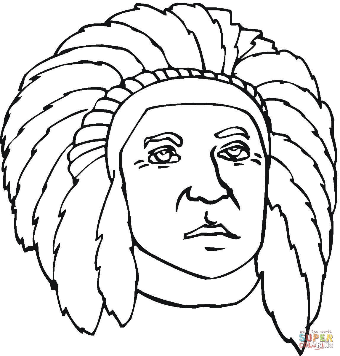Native American Faces Coloring Pages