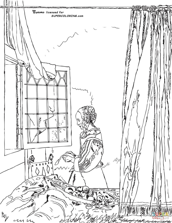 A Girl Reading A Letter By An Open Window By Johannes
