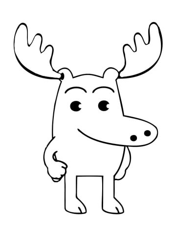 Moose A Moose Is Standing Casually Coloring Page