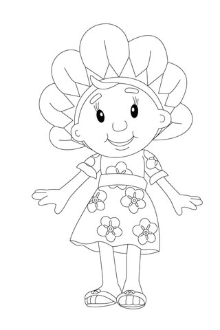 Fifi Standing in her Floral Dress coloring page
