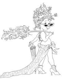 Fancy Nancy with Umbrella coloring page | SuperColoring.com