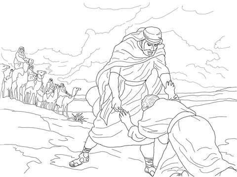 Kleurplaat Jakob En Esau Esau Forgives Jacob Coloring Page