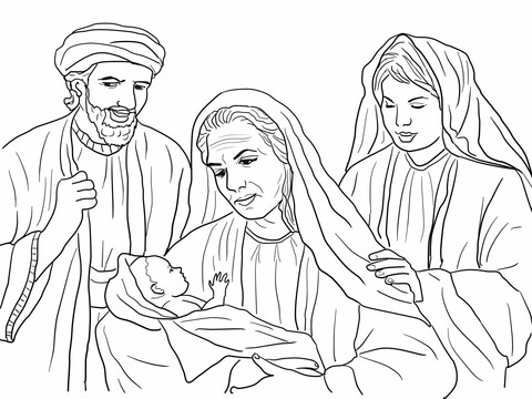 Boaz, Naomi, Ruth and Baby Obed coloring page