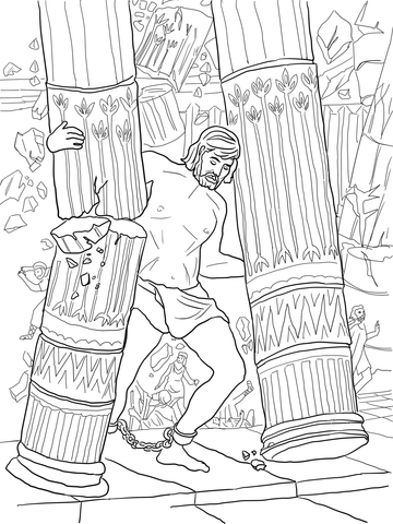 Coloring Pages Samsons Strength Coloring Pages