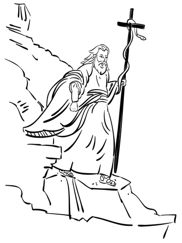 Moses Walking with Bronze Serpent Coloring page