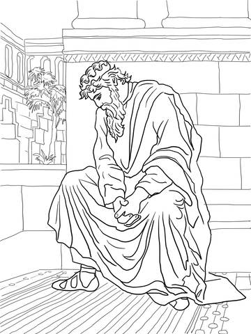 David Weeping Over the Death of Absalom coloring page