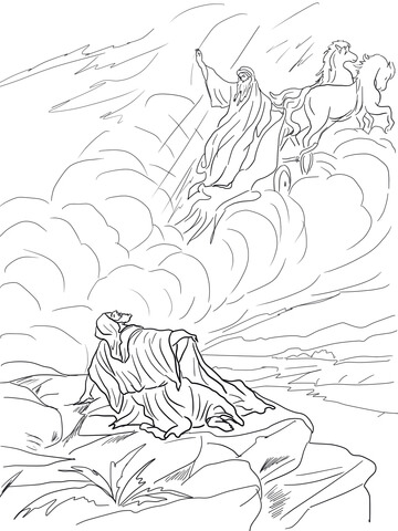 Elijah Taken up to Heaven in a Chariot of Fire Coloring