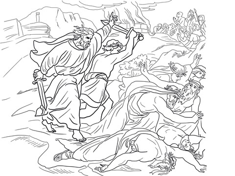 Elijah Defeats the Prophets of Baal coloring page
