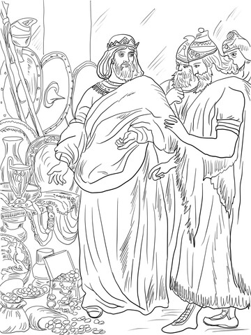 King Hezekiah Paid Tribute to Assyria coloring page