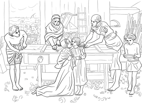 Jesus Boy in the House of His Parents coloring page