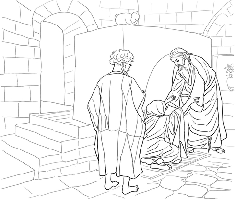 Lame Man Healed Coloring Sheet Coloring Pages