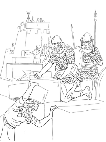 Nehemiah Builds the Walls and Tower of Jerusalem coloring