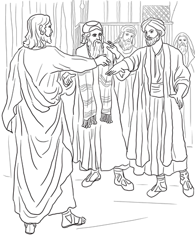 Jesus Heals a Man with a Withered Hand coloring page