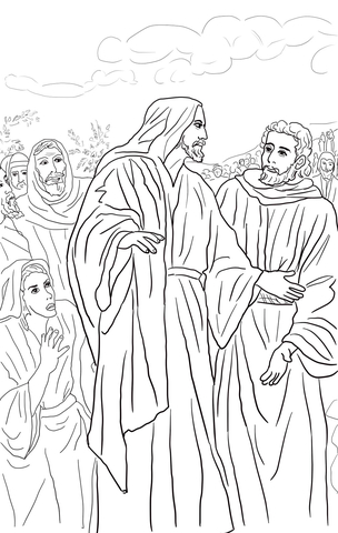Jesus Heals the Bleeding Woman coloring page