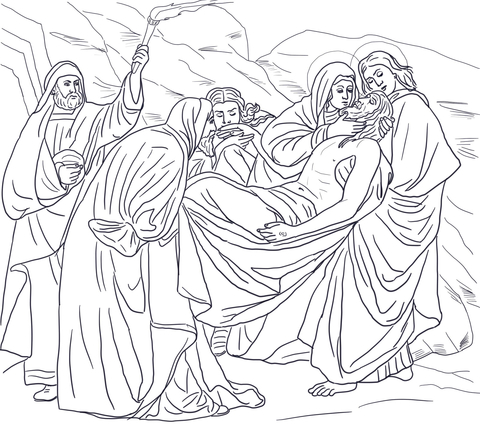 Fourteenth Station Jesus is Laid in the Tomb coloring page