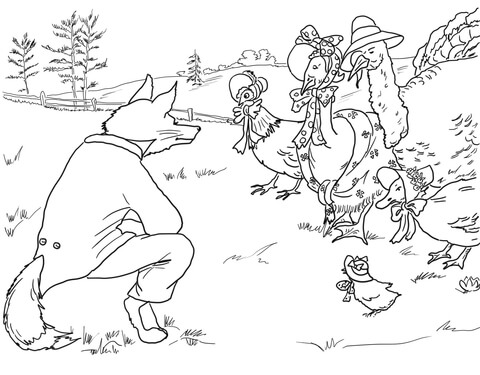 Fox Invites Brids to Its Lair coloring page