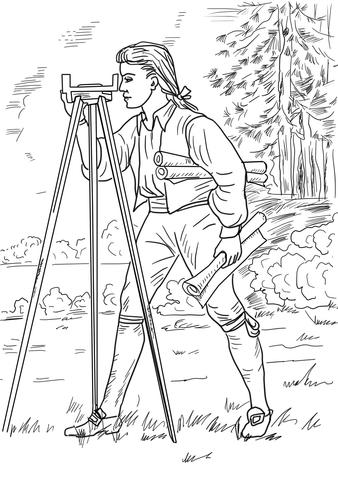 Young George Washington Surveyor And Mapmaker Coloring