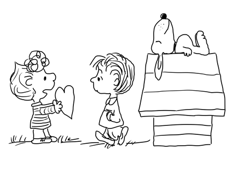 Charlie Brown Valentine's Day coloring page