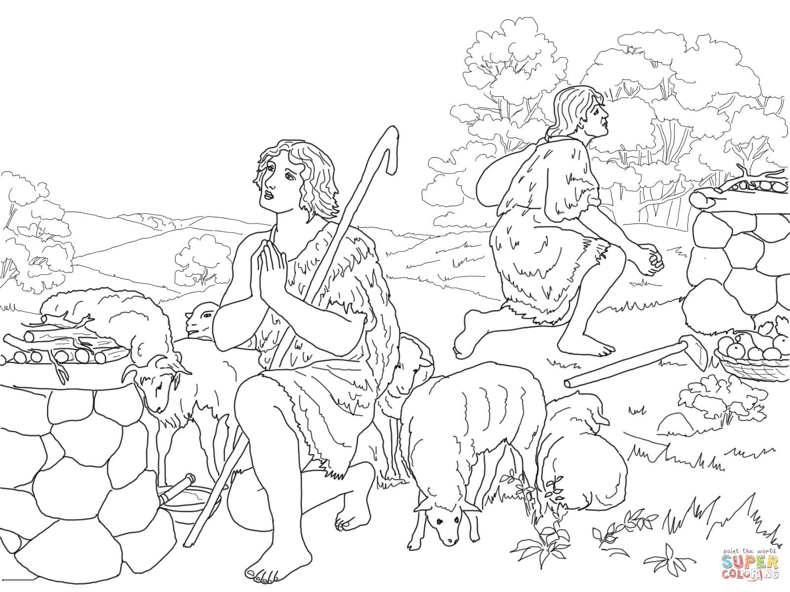 Cain And Abel Coloring Worksheet Coloring Pages