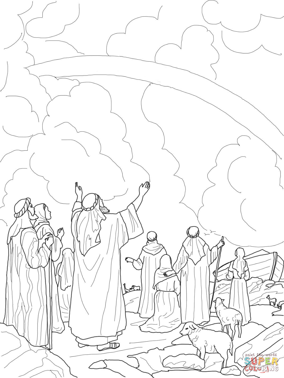 God S Rainbow Covenant With Noah Coloring Online