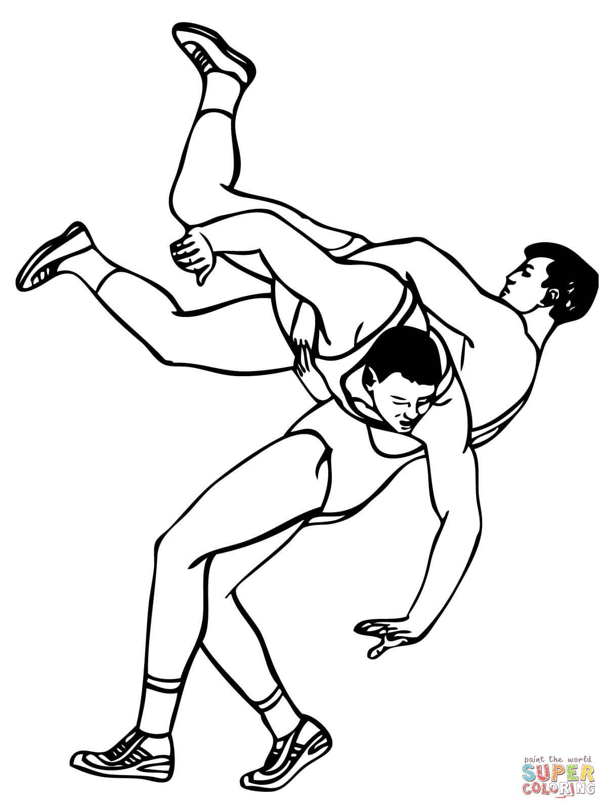 Greco Roman Wrestling Throw Coloring Online