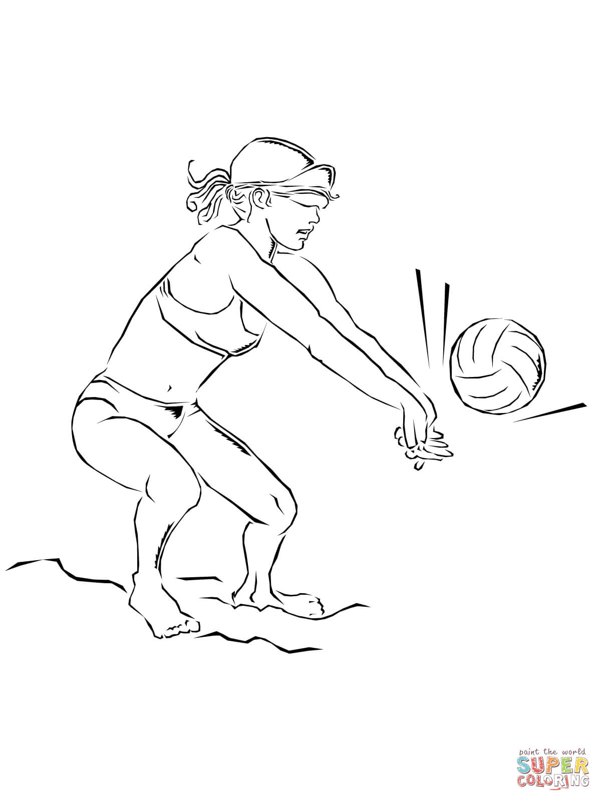 Playing Beach Volleyball Coloring Online