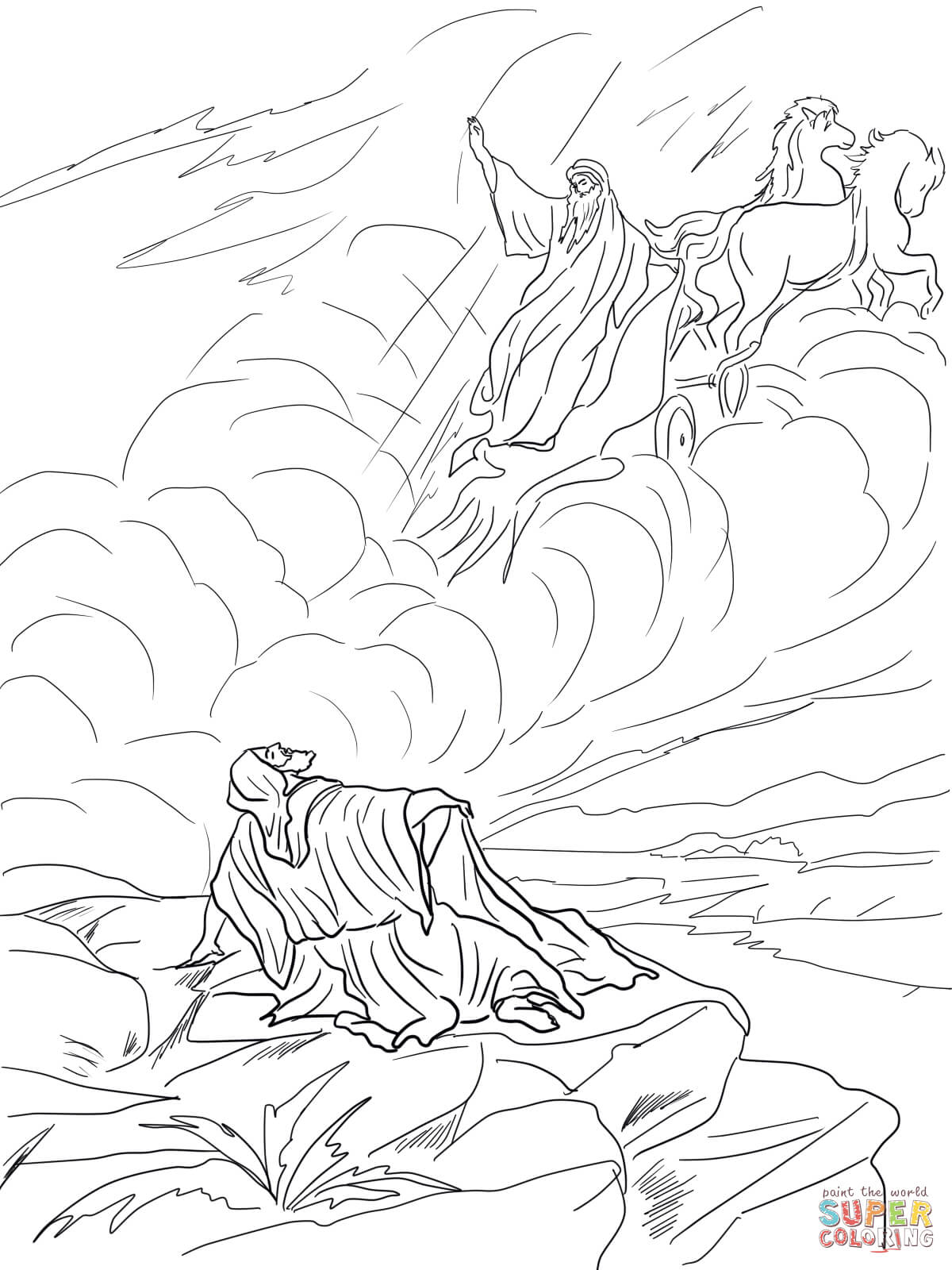Elijah And The Chariot Of Fire Coloring Page Coloring Pages