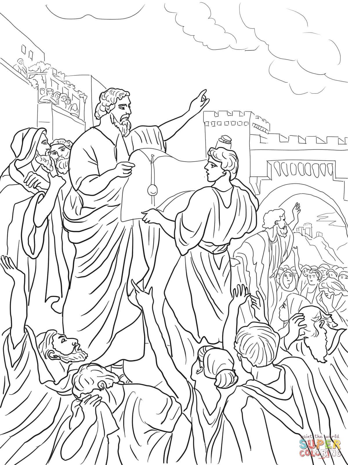 Ezra Reading the Torah Scroll Coloring Online