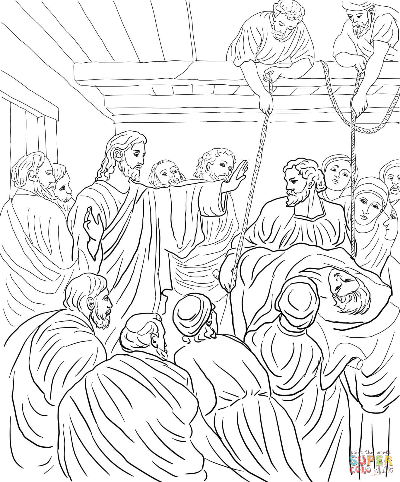 Jesus Heals Paralyzed Man Coloring Page Coloring Pages
