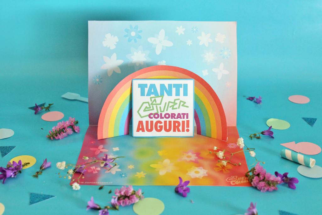 Kit Bigliettino Dauguri Pop Up Con Arcobaleno Super Colors
