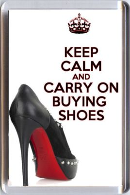 KEEP CALM AND CARRY ON BUYING SHOES Fridge Magnet showing