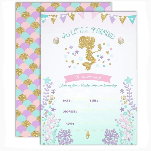 Mermaid Shower Invitations Under Sea Is On Her Way Baby Party Invite 20 Fill In And Envelopes Castle 22 Cb18kaa880n