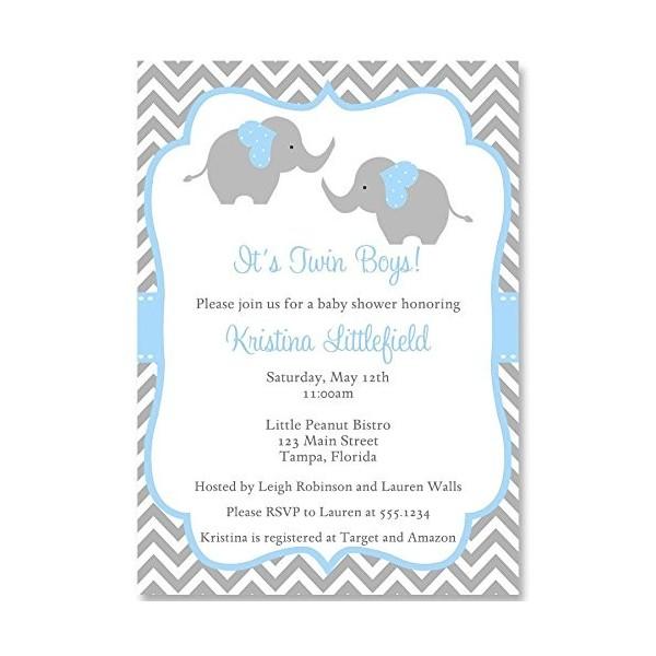 Chevron Elephant Twins Baby Shower Invitation Blue Gray White 10 Custom Invites With