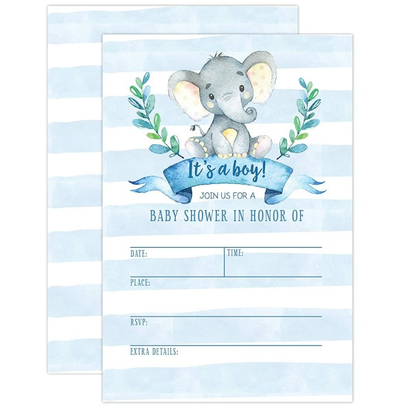 Boy Baby Shower Invitation Elephant