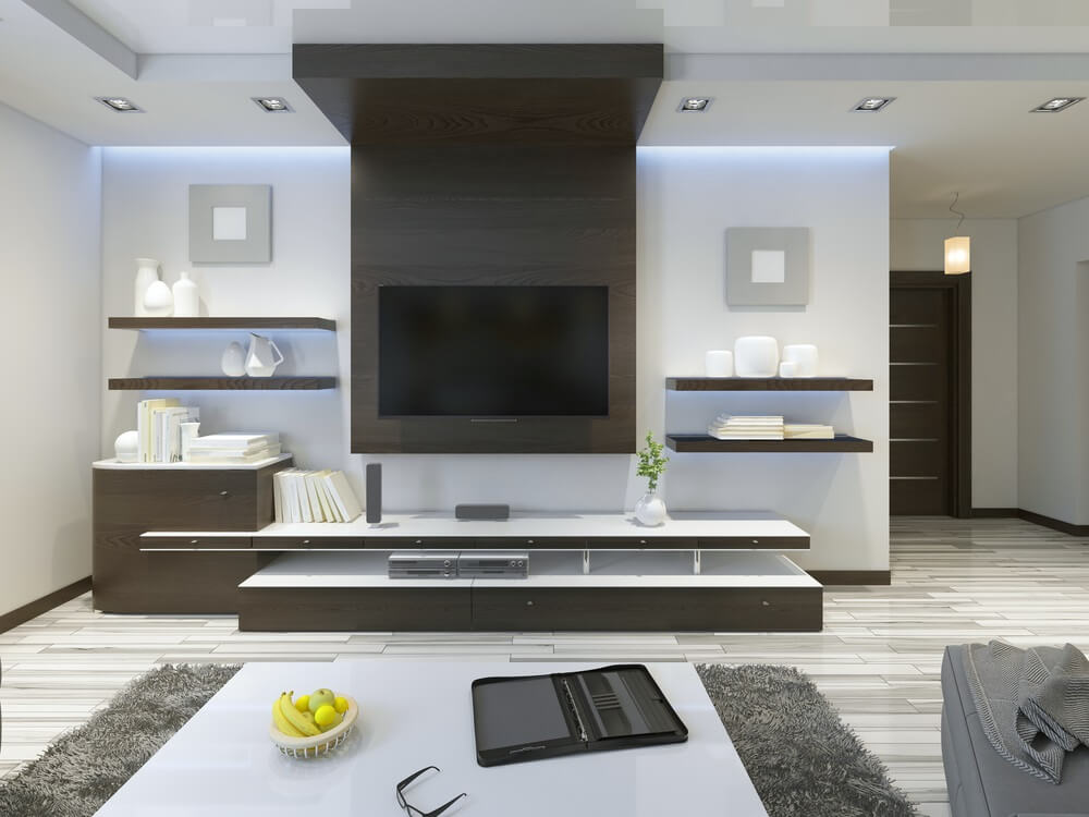 modern living room shelves designs with dark brown furniture clever shelving ideas for a aussie home