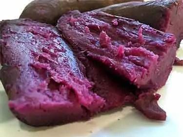 cooked purple sweet potato