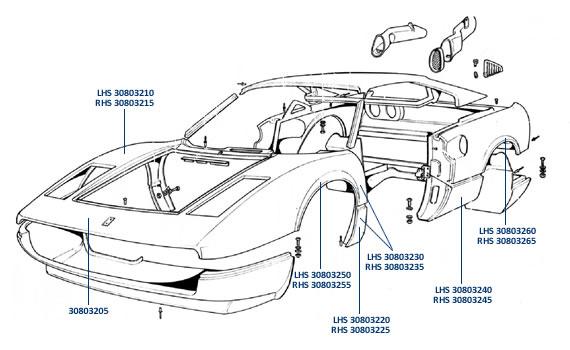 Body Panels for Ferrari 308, 208, 288 GTO & F40