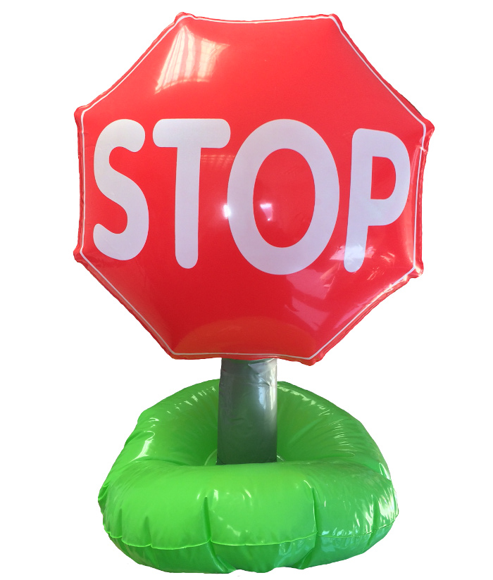 Stop Road Traffic Sign Inflatable Novelty Blow Up Toys For Kids