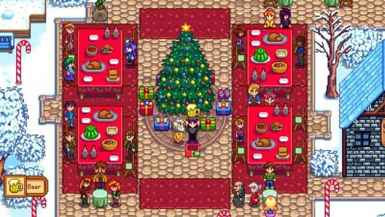 Christmas Tree and Feast in Stardew Valley