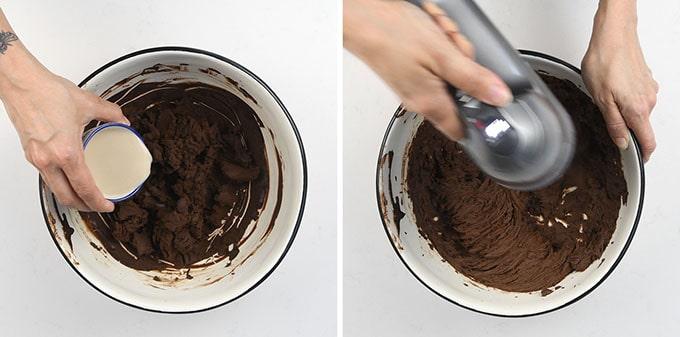 Whisking vegan ganache with a hand mixer