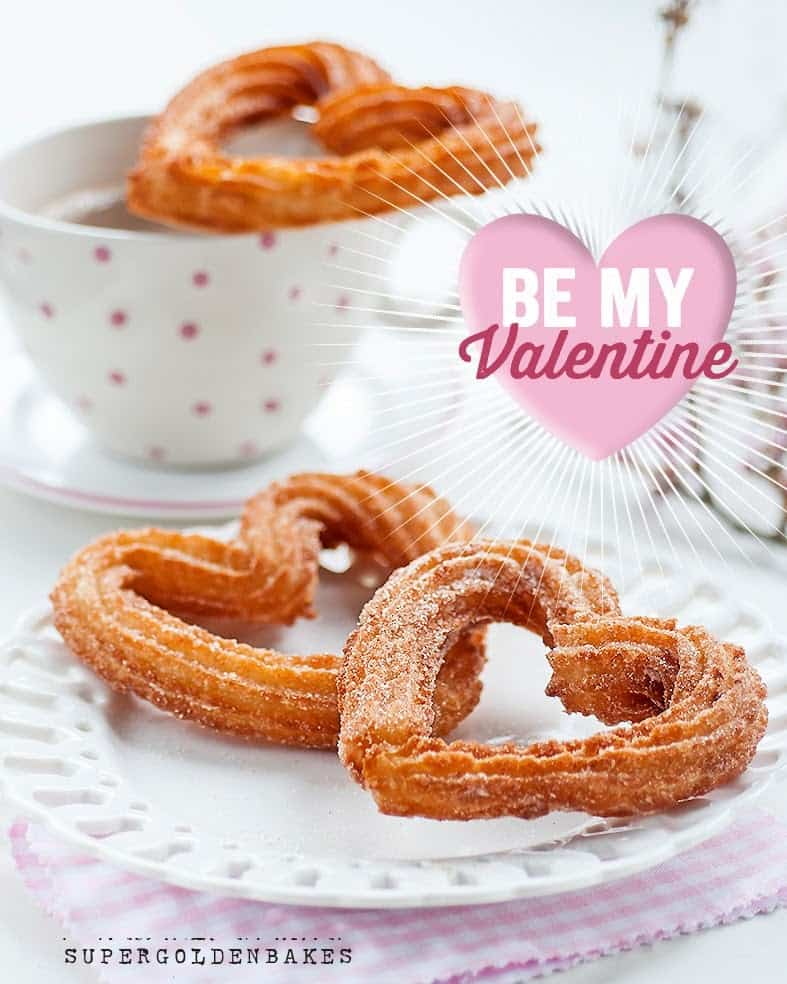 irresistible heart-shaped churros with chocolate sauce