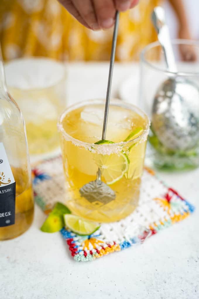 Stirring a Beergarita in a rocks glass