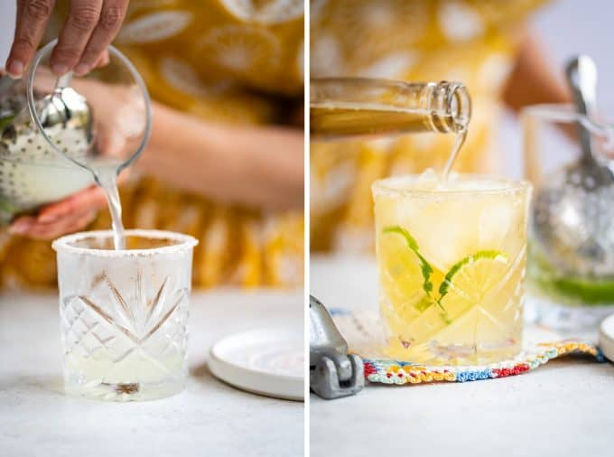 Pouring margarita mix into a glass and topping with beer collage