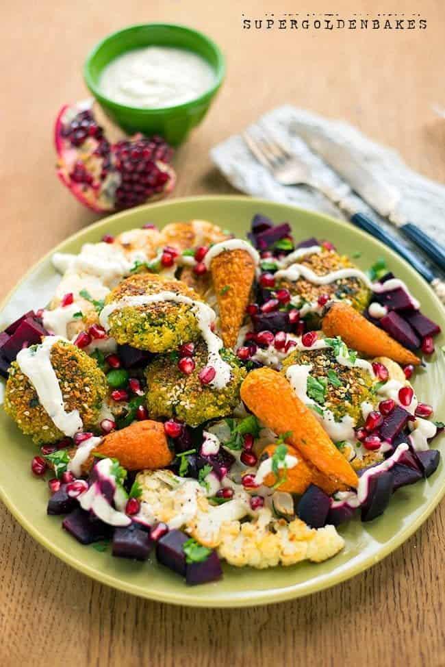 A vegetarian feast – falafel with roasted vegetables & yoghurt tahini dressing